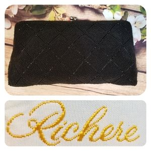 Vintage Black Beaded Hand Clutch By Richere